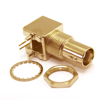 10-468-D5 - BNC Right Angle Bulkhead PCB Jack, 50 Ohm ( Gold Plated )
