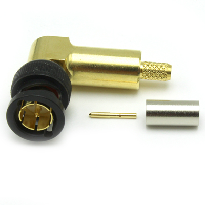 10-104-W66-FA - BNC Right Angle Crimp / Crimp Plug 12Ghz